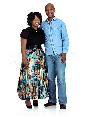 Buy stock photo Studio shot of a happy black couple standing against a white background