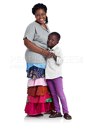 Buy stock photo Full length studio shot of an african woman hugging her young daughter