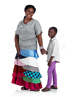 Buy stock photo Full length studio shot of an african woman and her young daughter