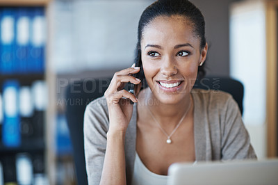 Buy stock photo A happy businesswoman speaking on her phone