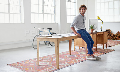 Buy stock photo Full length portrait of a handsome male designer in his modern office