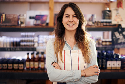 Buy stock photo Portrait of a beautiful woman standing proudly in front of her coffee shop counter