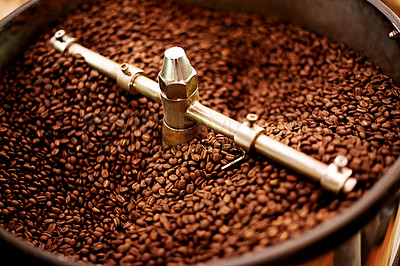 Buy stock photo Closeup of coffee beans being roasted