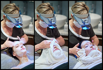 Buy stock photo Composite shot of a woman getting a facial treatment at a clinic