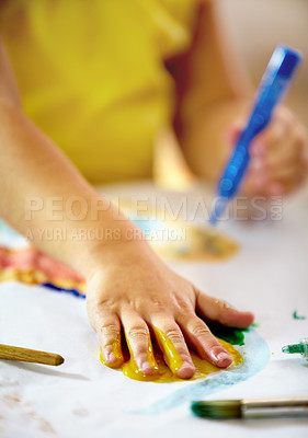 Buy stock photo Shot of a young child painting