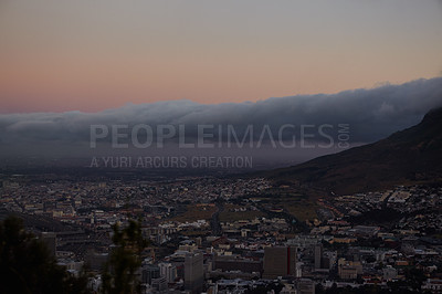 Buy stock photo Table mountain at dusk