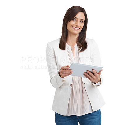Buy stock photo Studio portrait of an attractive mature woman standing with a tablet
