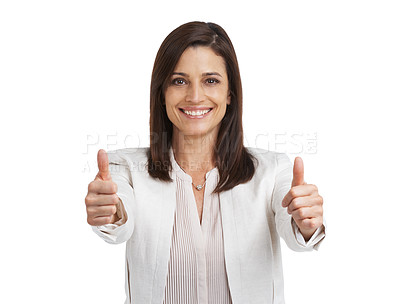 Buy stock photo Studio portrait of a happy mature woman showing thumbs up