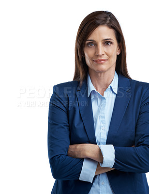 Buy stock photo Cropped studio portrait of a mature businesswoman in office wear