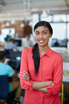 Buy stock photo Portrait of a confident young female designer in a relaxed working environment