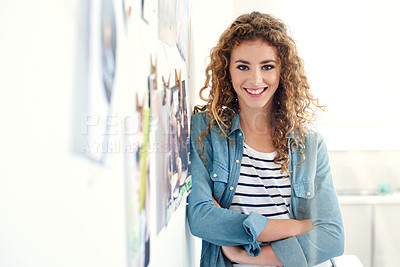 Buy stock photo Portrait of a young graphic designer standing in her office