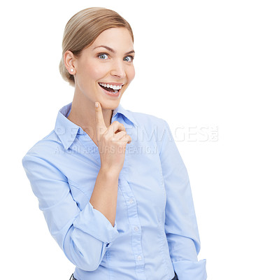 Buy stock photo Studio shot of a beautiful young businesswoman posing with her hand on her chin against a white background