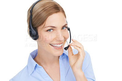 Buy stock photo Studio shot of a beautiful young professional woman wearing a headset against a white background