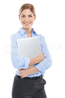 Buy stock photo Studio shot of a beautiful young businesswoman holding a laptop against a white background