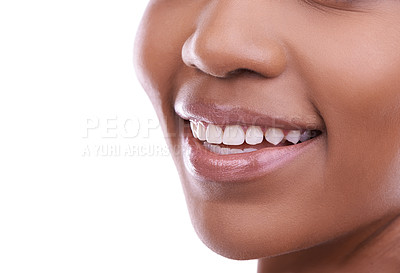 Buy stock photo Cropped shot of a young woman's mouth against a white background
