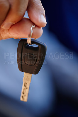 Buy stock photo Closeup shot of a man showing you a car key