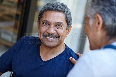 Buy stock photo Cropped portrait of a senior man with his doctor