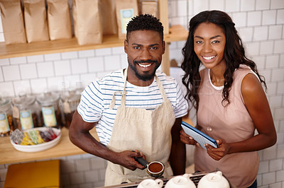 Buy stock photo Portrait of a bistro owner using a digital tablet