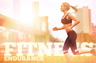 Buy stock photo Shot of an attractive blonde woman jogging in an urban setting