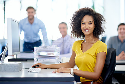Buy stock photo Portrait of an attractive young businesswoman with her colleagues in the background