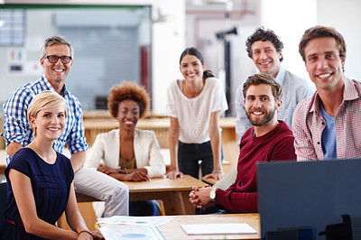 Buy stock photo Portrait of a group of diverse designers in their modern office