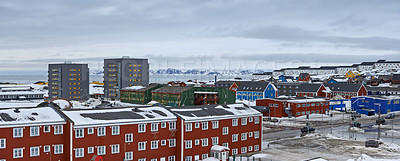 Buy stock photo Photo of NUUK,  the Capital of Greenland, Denmark