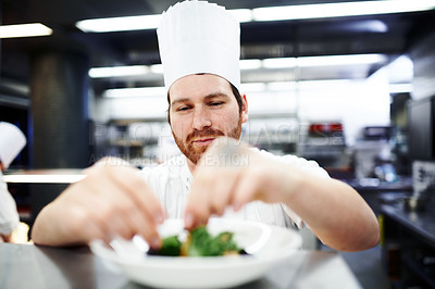 Buy stock photo Shot of a chef putting the final touches on a dinner plate in a professional kitchen