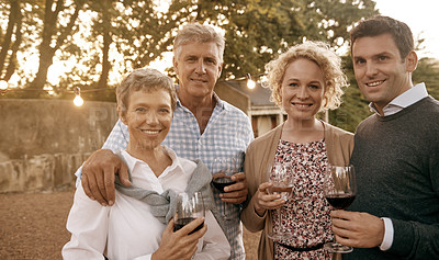 Buy stock photo Shot of a couple spending time with their senior parents in the outdoors