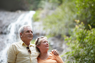 Buy stock photo An affectionate senior couple standing against the backdrop of a picturesque waterfall