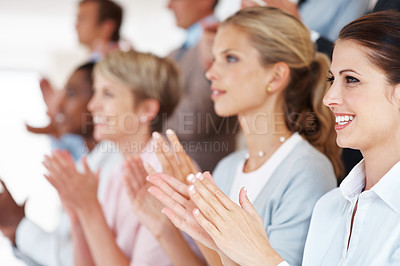 Buy stock photo Successful group of business team applauding at seminar in office