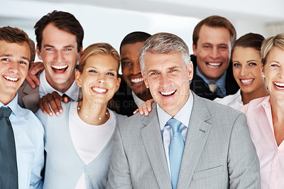 Buy stock photo Portrait of a happy senior manager with his team at office - Successful business team