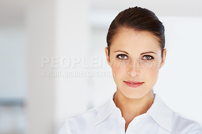 Buy stock photo Portrait of a beautiful young female business executive looking with attitude