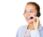 Happy business woman talking on headset against white