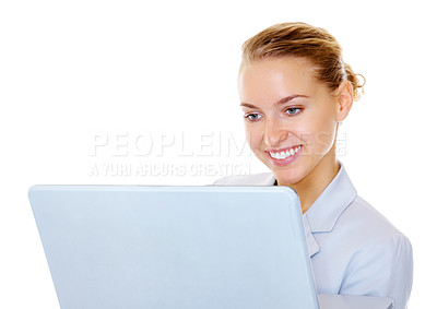 Buy stock photo Happy young business woman using a laptop isolated on white