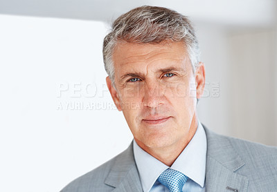 Buy stock photo Portrait of a Confident senior manager looking with a smile at office