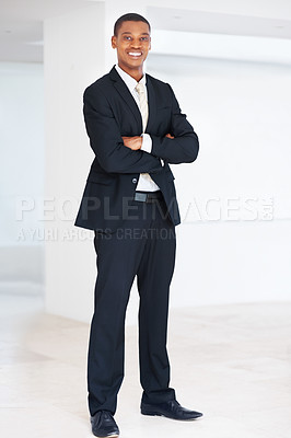 Buy stock photo Full length portrait of a smart american african businessman standing with folded hand