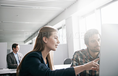 Buy stock photo Cropped shot of businesspeople working the office