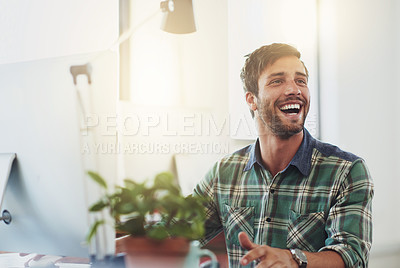 Buy stock photo Shot of a designer working at his computer