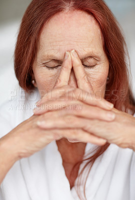 Buy stock photo Closeup portrait of a sad mature woman in a deep pain