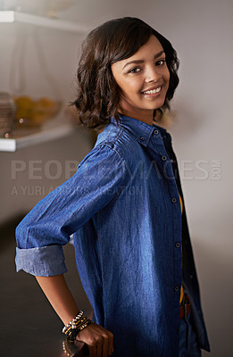 Buy stock photo Portrait of a young woman at home