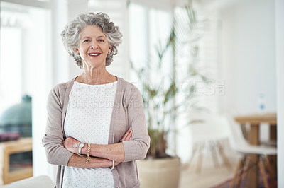 Buy stock photo Cropped portrait of a happy senior woman at home