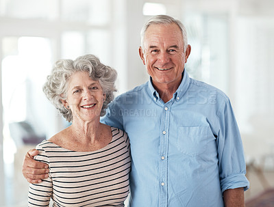 Buy stock photo Portrait of a happy senior couple at home