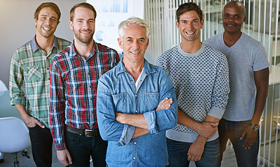 Buy stock photo Portrait of a group of colleagues standing together