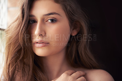 Buy stock photo Portrait of a beautiful young woman indoors