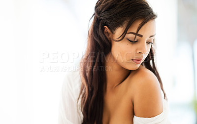 Buy stock photo Shot of a sexy young woman posing indoors