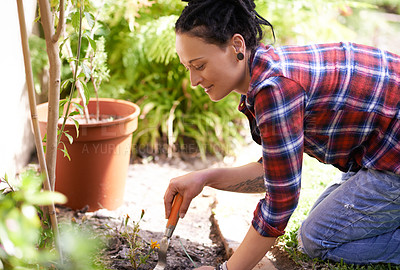 Buy stock photo Cropped shot of a woman enjoying a day of gardening