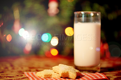 Buy stock photo Closeup shot of Christmas cookies and milk