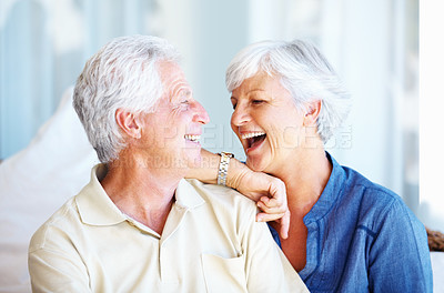 Buy stock photo Closeup of senior couple having a good time and smiling