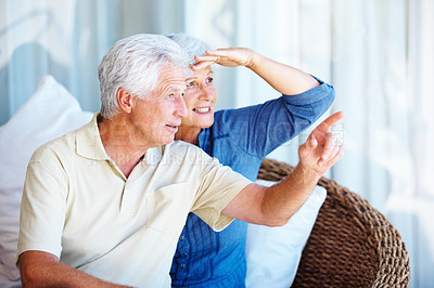 Buy stock photo Senior couple sitting together on a sofa with man pointing and showing something to woman