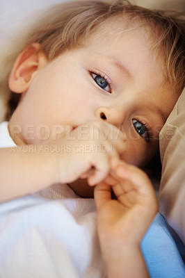 Buy stock photo Closeup portrait of cute little kid with thumb in mouth